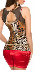 ♥SeXy Miss TANK TOP Netz Out Cut S/M 34/36 L/XL 38/40 schwarz Leopard braun NEU