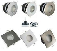 Frosted Bathroom Recessed GU10 Ceiling Downlight Spotlight IP44 Round or Square
