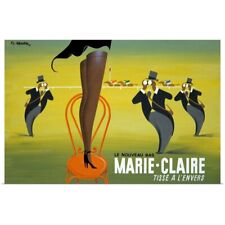 Poster Print Wall Art entitled Marie Claire, Tisse a lEnvers, Vintage Poster, by