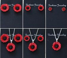 Red Poppy Flower Earrings Necklace  - Beautiful Gift For Her