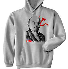 VLADIMIR LENIN SOVIET UNION 2 - NEW COTTON GREY HOODIE - ALL SIZES IN STOCK