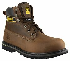 CAT Holton Brown Safety Boots With Steel Toe Cap SB