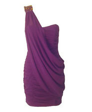 Sexy Asymmetric Purple One Shoulder Ruched Boned Chiffon Dress  Prom Cocktail