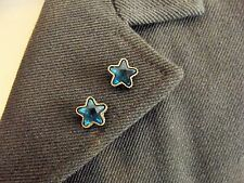 Pair of Golden Star Collar Pins / Brooches: Topaz or Blue