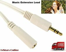3.5mm White JACK Extension Cable GOLD Stereo Audio M-F 1M, 2M, 3M, 5m Metre Lead