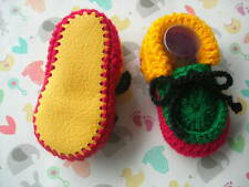 Baby booties. Rasta. Hand crocheted by myself. Yellow leather soles. 4 sizes.
