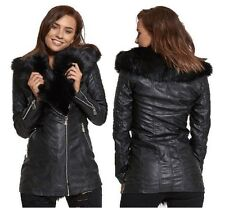 WOMENS LADIES BLACK FUX FUR COLLAR PU PVC LEATHER LOOK TRENCH BIKER JACKET COAT
