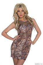 SeXy MiSS Mini Kleid Netz out cut Stretch Dress S 34 M 36 L 38 leopard braun NEU