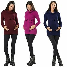 Happy Mama. Women's Maternity Stretchy Jumper Tunic Pullover Turtle Neck. 358p