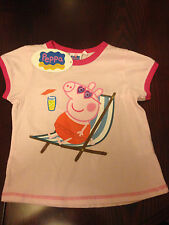 Girl's New Peppa Pig 100% Cotton Short Sleeved T-Shirts/Top - From 2 - 6 years