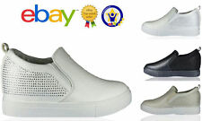 Uk New Ladies Trainers High Wedge Diamante Slip on Sneakers Boots Shoes Size 3-8