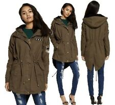 WOMENS LADIES BRAVE SOUL MILITARY ARMY HOODED FISHTAIL PARKA JACKET TRENCH COAT