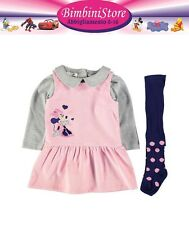 completo neonata Minnie set 3 pezzi originale disney vestito + collant + polo