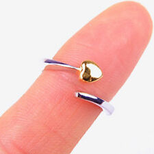 Cute Yellow Gold Plated Heart  925 Sterling Silver Ring Size 3.5 Jewelry H1102