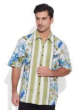 Very Me Men's Cotton Printed Olive Beach Shirt (MCPS1106)