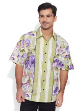 Very Me Men's Cotton Printed Olive Beach Shirt (MCPS1109)