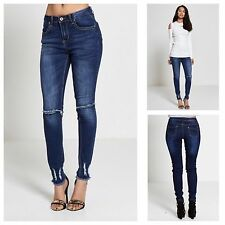 WOMENS LADIES STRETCH DENIM BLUE FRAYED HEM RIPPED KNEE SLIM FIT SKINNY JEANS