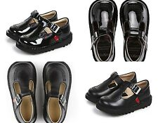 Girls T-Bar KICKERS Shoes Black Leather School Patent Strap New Casual Size 5-12