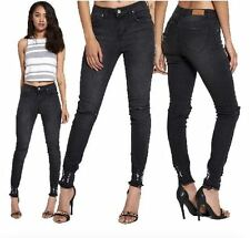 WOMENS LADIES STRETCH DENIM FRAYED HEM RIPPED KNEE SLIM FIT SKINNY GREY JEANS