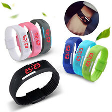 Men's Women's Silicone Red LED Sports Bracelet Touch Digital Wrist Watch Newly