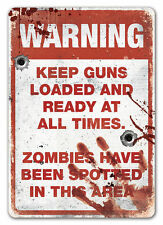 WTF Zombi Área Warning Letrero Metálico De Pared Placa Arte Kitsch Undead Walker