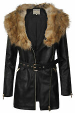 New Womens Faux Fur Collar PU Mid Length Belted Ladies Biker Jacket Size 8-14