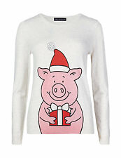 New M&S Collection Cream Percy Pig Sequin Santa Jumper Sz UK 14 & 16
