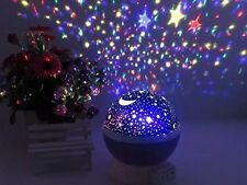 USB Rotation Starry Star Sky Romantic Moon Room Night Light Lamp Projector