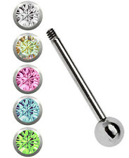 Set Titanio Piercing Alla Lingua Barra Bilanciere 1,6mm Mit 5 Colorato Sfere