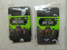 NEW: LADIES HALLOWEEN ADULT TIGHTS, BLACK with BATS or with  SKULLS - size S/M