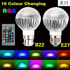 B22 5W RGB DIMMABLE LED LIGHT BULB 16 COLOUR CHANGING MOOD LAMP + REMOTE CONTROL