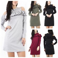 WOMENS LADIES CASUAL LONG SLEEVE CUT OUT RUFFLE FRILL COLD SHOULDER DRESS TUNIC