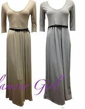Womens Belted 3/4 Short Sleeves Franki Party Ladies Maxi Dress