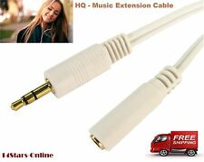 3.5mm JACK Extension Cable GOLD Stereo HEADPHONE HQ M/F AUX Audio Lead WHITE