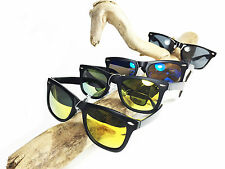 Gafas de sol Reflectante Negro Azul Amarillo Retro Party wayfarer estilo 100% UV
