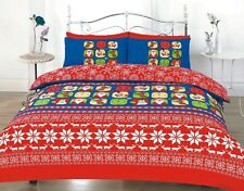 CHRISTMAS SANTA REINDEER DUVET COVER BEDDING SET SINGLE DOUBLE KING SUPERKING