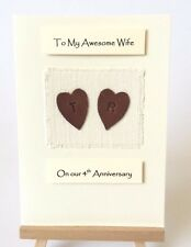 4th Wedding Anniversary Card Linen Anniversary Leather Personalised Wife Husband