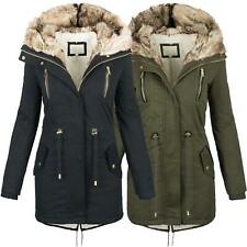 Warme Damen Winter Jacke Parka langer Mantel Winterjacke Fell Kragen S-XL B420