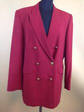 M Ladies Classic Marks & Spencer Double Breasted Blazer UK Size 16 Claret Red