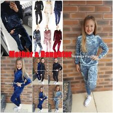 Ladies Womens Girls Velvet Top Joggers Loungewear Tracksuit Mother & Daughter