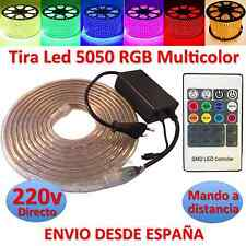 Striscia di Led 220v 5050 RGB con Comando IMPERMEABILE Waterproof IP67 strip