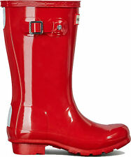 HUNTER ORIGINAL KIDS JUNIORS  WELLINGTON BOOTS - MILITARY RED GLOSS