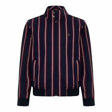 MENS MERC LONDON RETRO STRIPE HARRINGTON BOATING JACKET SKA WITTON - NAVY BLUE