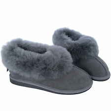 New Grey High Quality Deluxe Women'sGenuine Sheepskin Suede Slippers Hard Sole