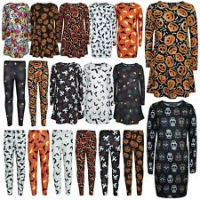 Girls Halloween Dresses Skull Pumpkin Witches Ghost Print Legging Trick Or Treet