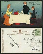 TOM BROWNE 1908 Old Postcard Breakfast Hotel Honey-Moon