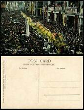 Hong Kong China Old Postcard Chinese Procession Long Dragon Crowded Street Scene