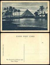 Egypt Old Postcard The Pyramid of Cheops and Giza Village, Palm Trees Nile River