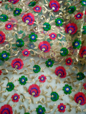 Flower Embroidered Net Fabric for Lehenga Kurti Saree Dress Bridal Party Wear