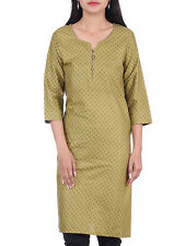 BleuIndus Women Cotton Olive Green Printed 3/4th Sleeves Kurti